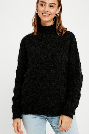 Into the Light Black Mock Neck Sweater - Caroline Hill
