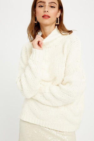 Into the Light Cream Mock Neck Sweater - Caroline Hill