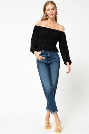 Into the Night Black Off the Shoulder Top - Caroline Hill