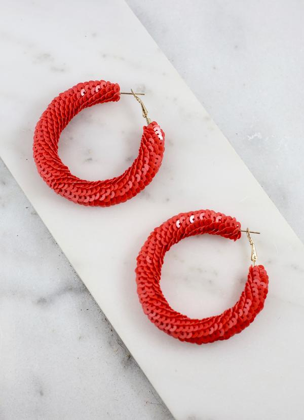 Jacobi Red Sequin Hoop Earring - Caroline Hill
