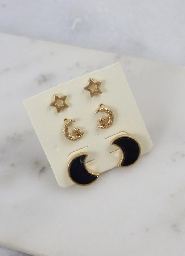 Jazmin Set of Three Studs Black - Caroline Hill