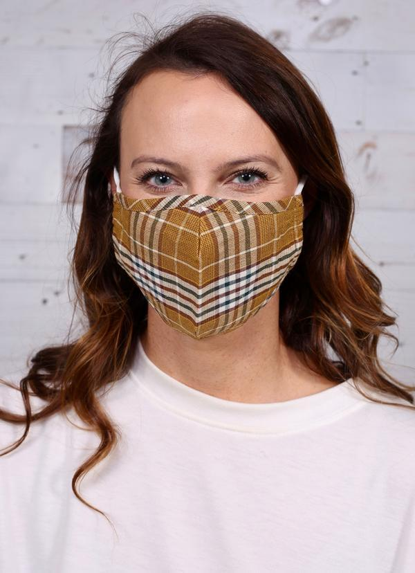Jeanine Plaid Face Mask Tan - Caroline Hill