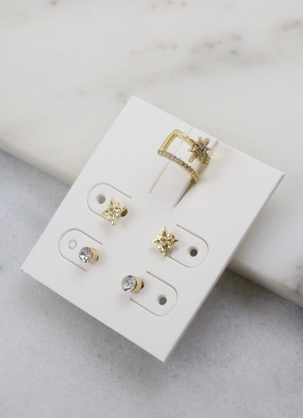 Jerry Cz Earring Set Gold - Caroline Hill
