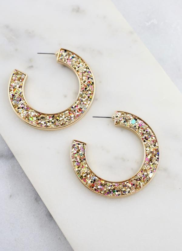 Jolly Glitter Post Hoop Gold - Caroline Hill