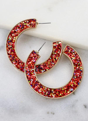 Jolly Glitter Post Hoop Red - Caroline Hill