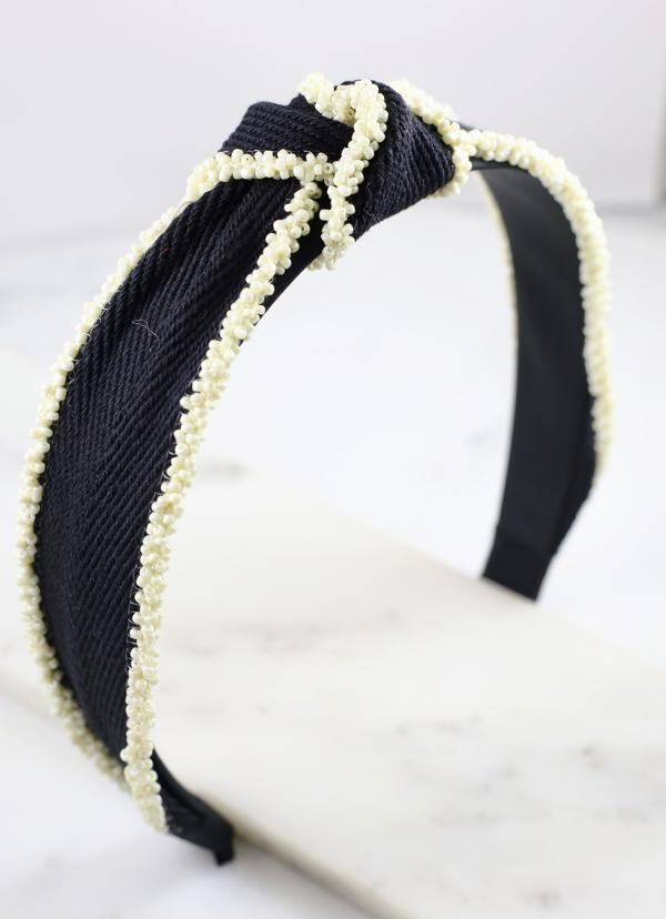Jonas Headband With Seed Bead Trim Black - Caroline Hill