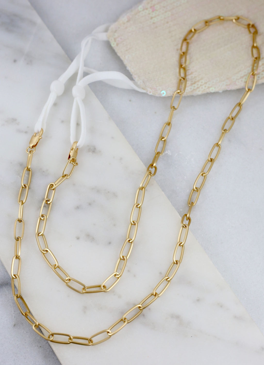 Jones Link Mask Chain Necklace Gold - Caroline Hill