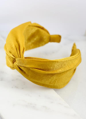 Jossy Twisted Satin Headband Mustard - Caroline Hill