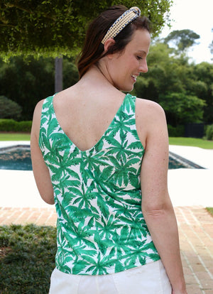 Julianne V Back Tank Ambergris Palms - Caroline Hill