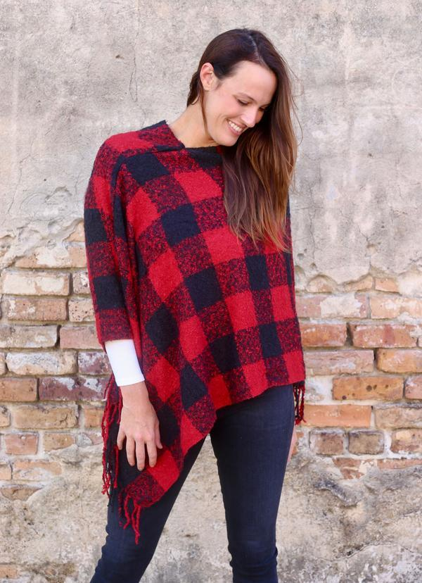 Julien Plaid Kimono With Fringe Red - Caroline Hill