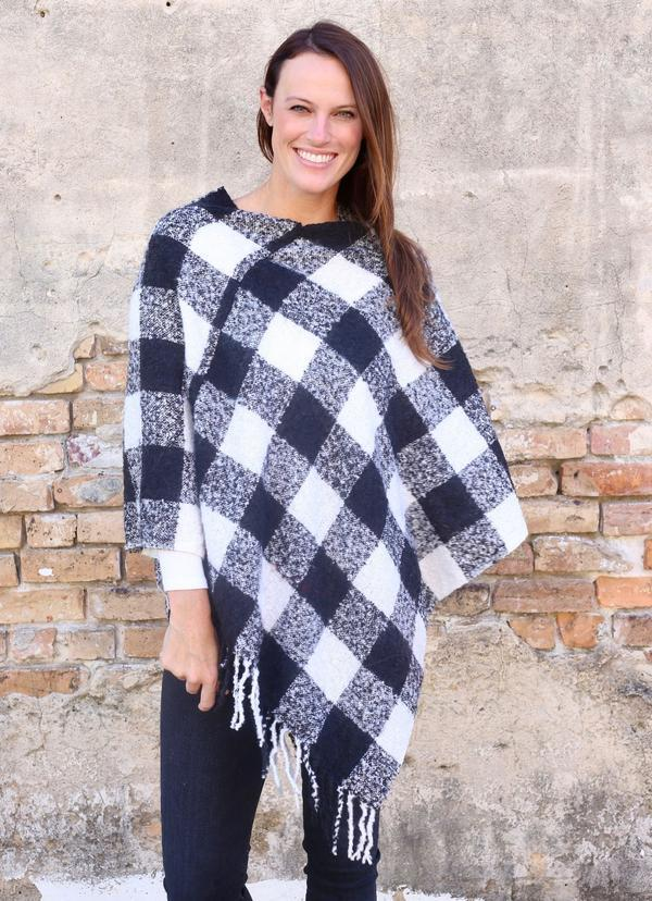 Julien Plaid Kimono With Fringe White - Caroline Hill