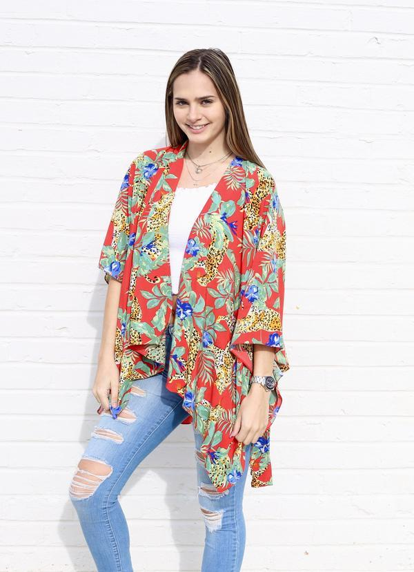 Jungle Girl Red Floral Kimono - Caroline Hill