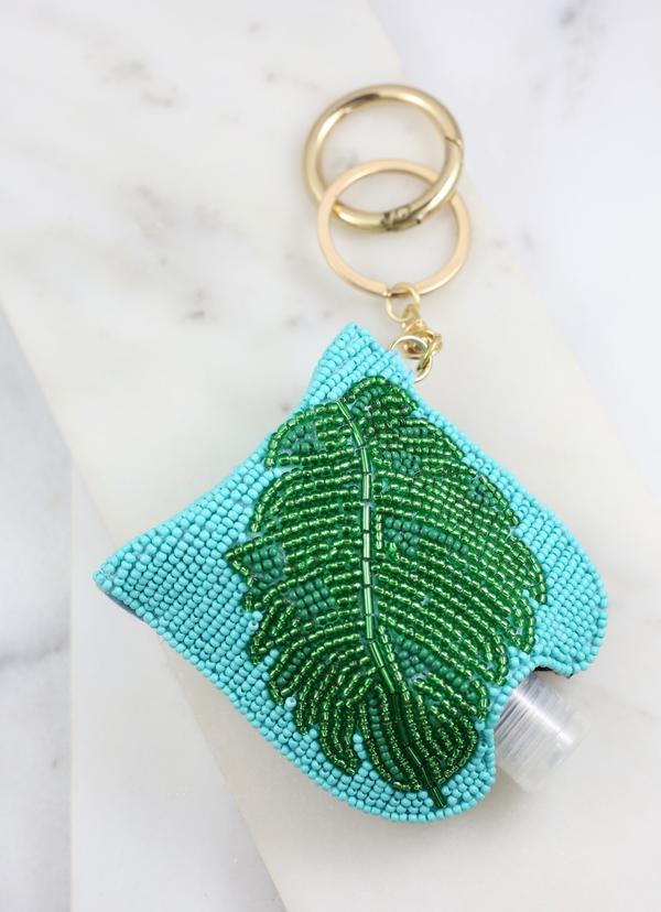 Jungle Palm Beaded Sanitizer Keychain Turquoise - Caroline Hill