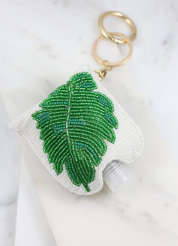 Jungle Palm Beaded Sanitizer Keychain White - Caroline Hill