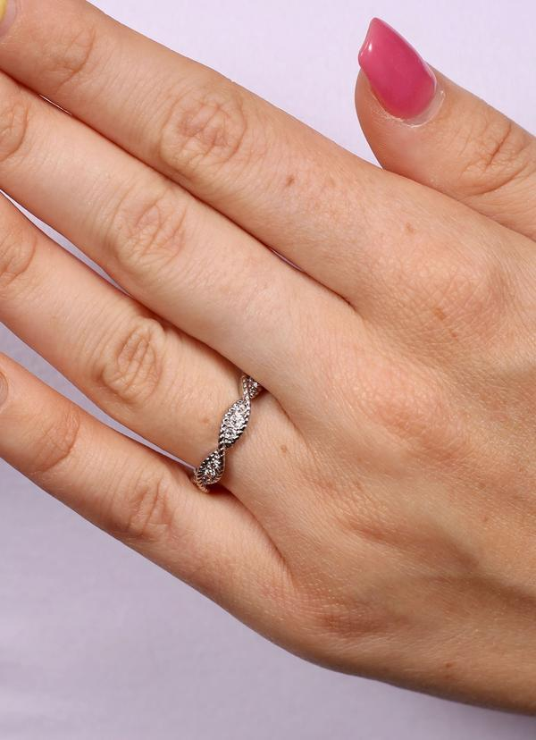 Kaila Twisted Eternity Ring Silver - Caroline Hill