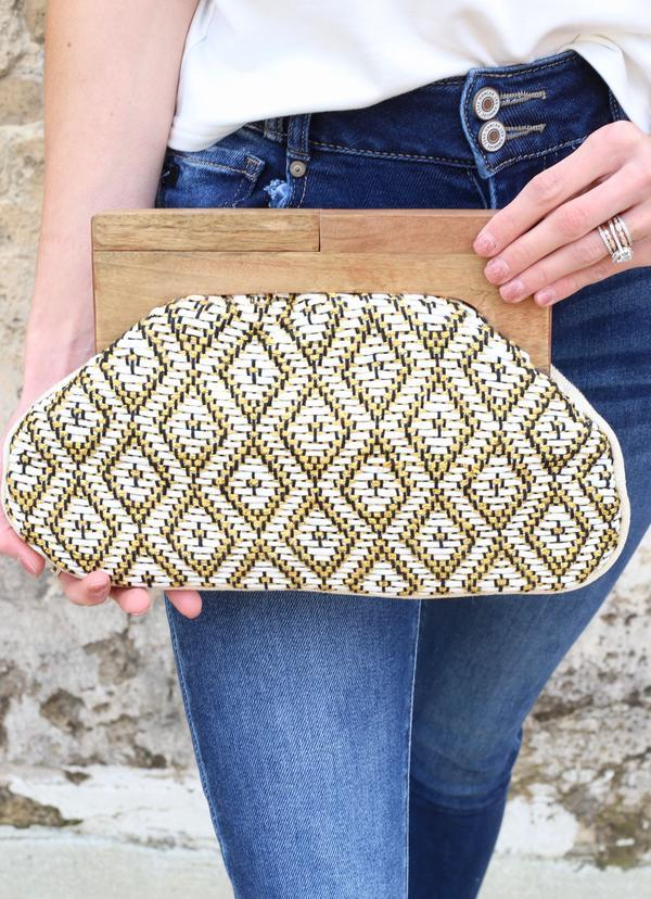 Kailani Woven Clutch With Wooden Handles White - Caroline Hill