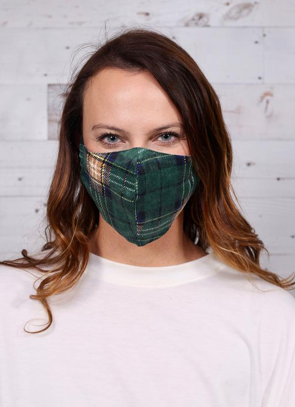 Kali Plaid Face Mask Green - Caroline Hill