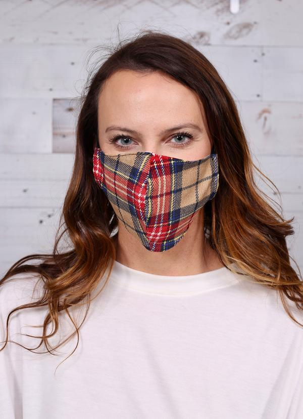 Kali Plaid Face Mask Tan - Caroline Hill