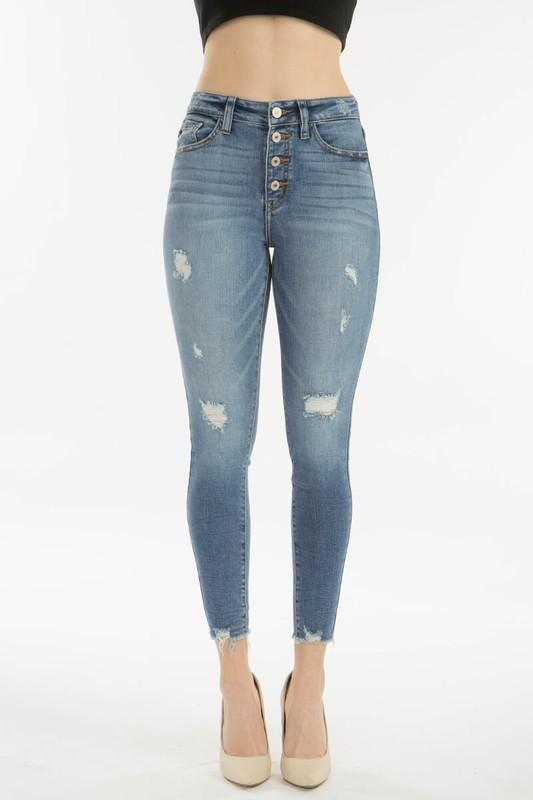 KanCan Gemma High Rise Button Up Skinny Jeans - Caroline Hill