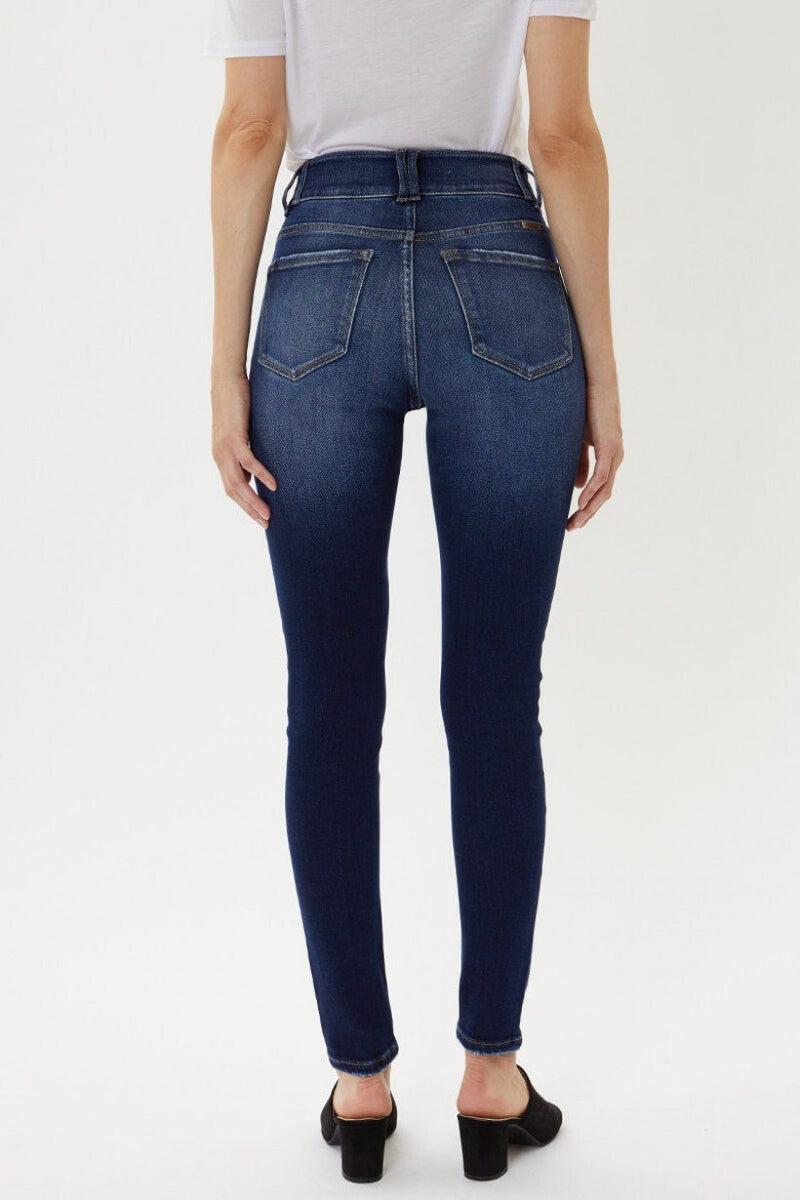 Kancan High Rise Double Button Dark Skinny Jeans - Caroline Hill
