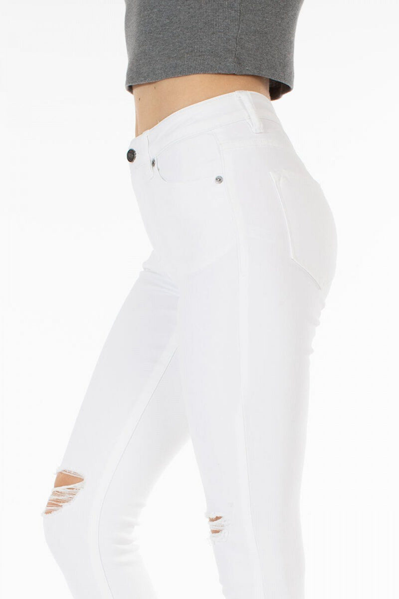 Kancan White Distressed High Rise Skinny Jean - Caroline Hill