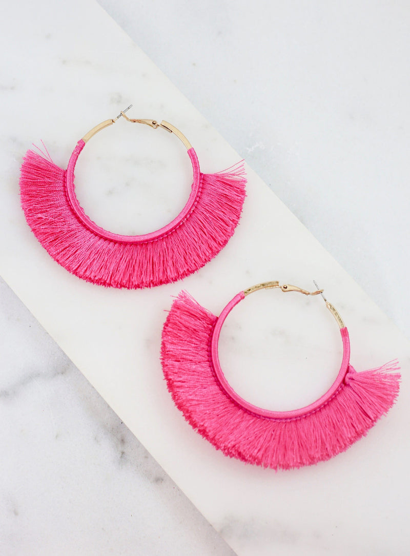 Karlton Hot Pink Thread Wrapped Hoop - Caroline Hill