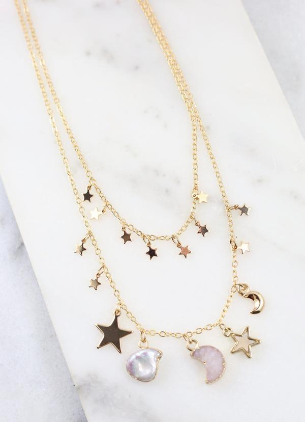 Keener Layered Night Sky Charm Necklace - Caroline Hill