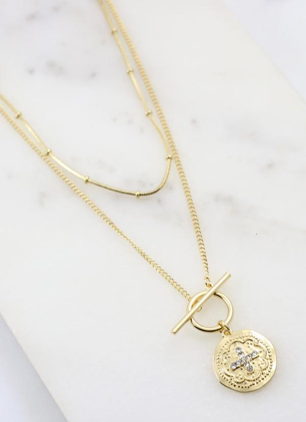Keith Necklace Set With Toggle And Coin Gold - Caroline Hill