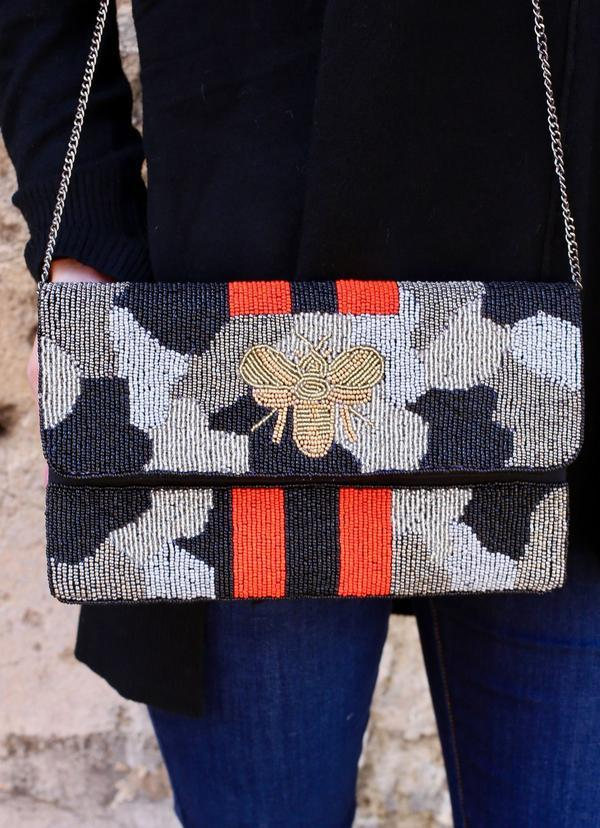 Kemper Camo Beaded Bee Bag Silver - Caroline Hill