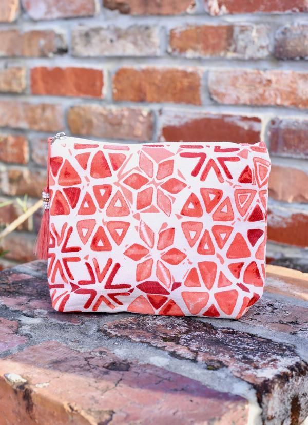 Keone Printed Pouch Coral - Caroline Hill