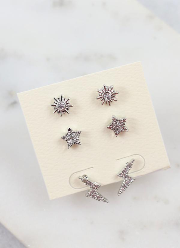Kepner Set Of Three Stud Earrings Silver - Caroline Hill