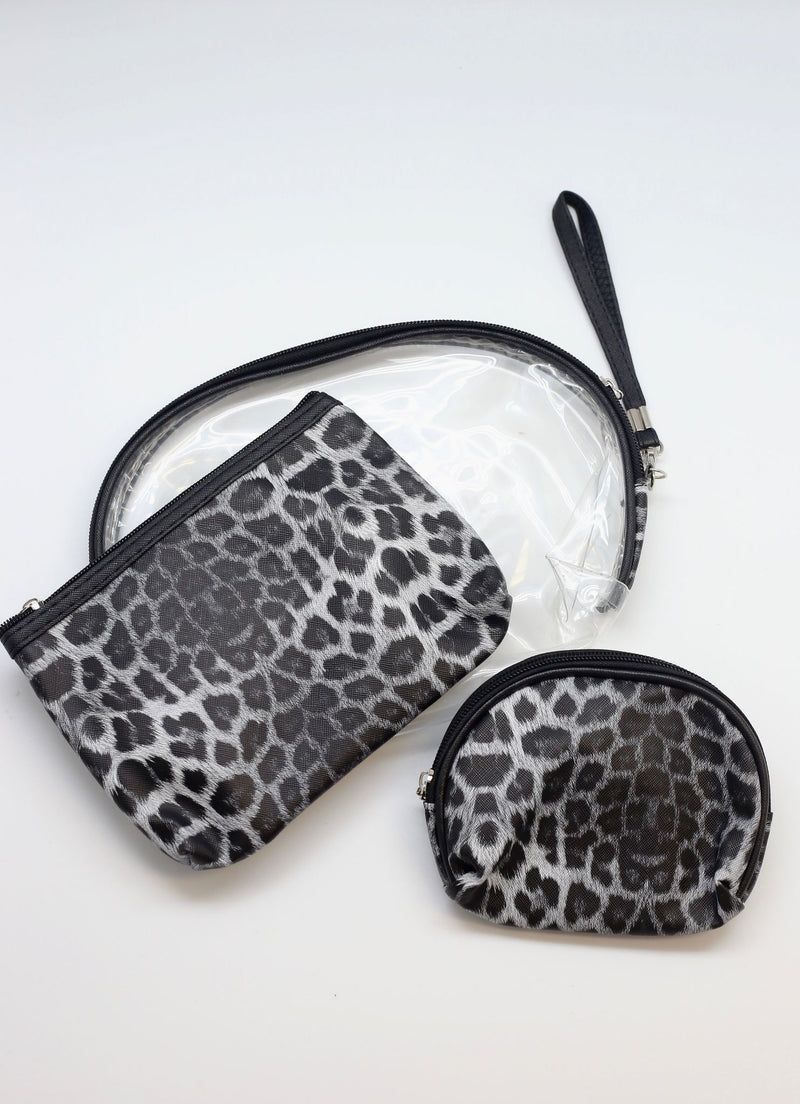 Kessler Animal Print Pouch Set Black - Caroline Hill