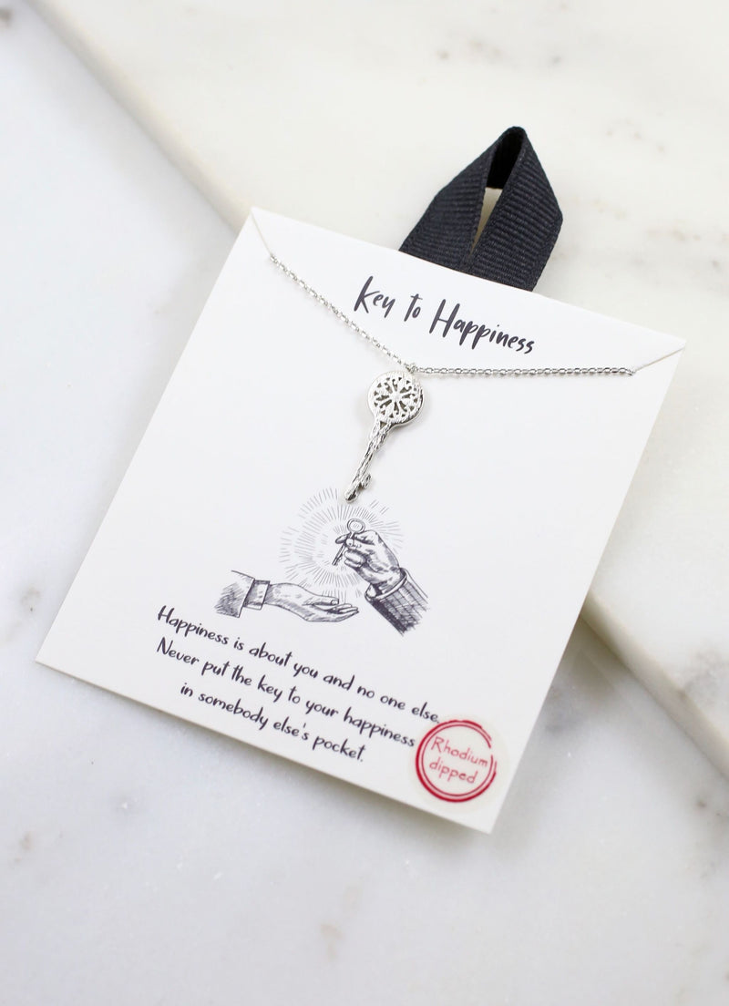 Key To Happiness Silver Necklace - Caroline Hill