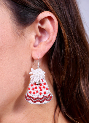 Keystone Beaded Snow Hat Earring Red - Caroline Hill