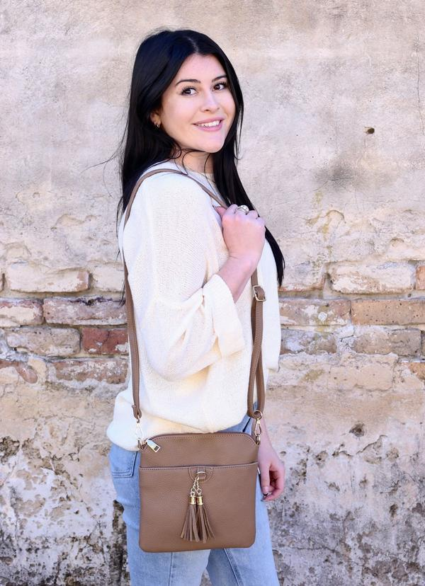 Kiara Flat Crossbody Bag With Tassels Khaki - Caroline Hill