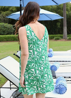 Kimmy V Back Dress Ambergris Palms - Caroline Hill
