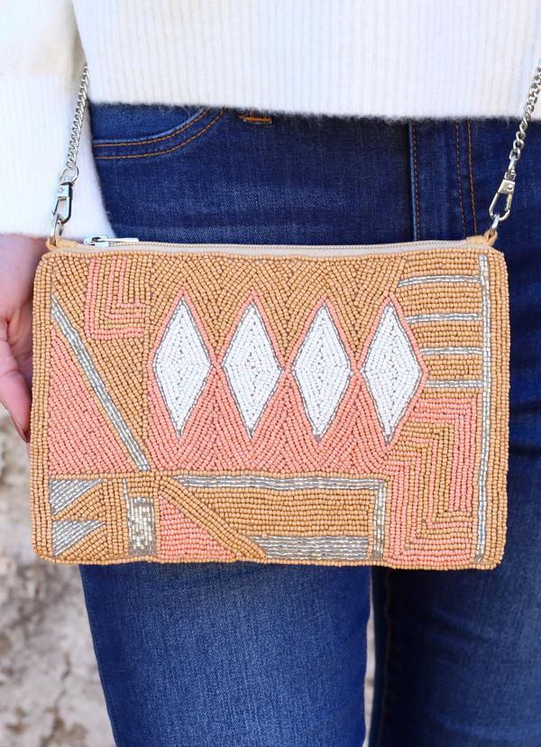 Kleinfield Beaded Crossbody With Chain Strap Coral - Caroline Hill