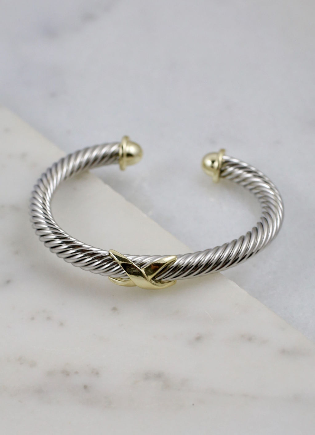 Knoxy Two Tone Cable Bracelet With X Accent Silver - Caroline Hill