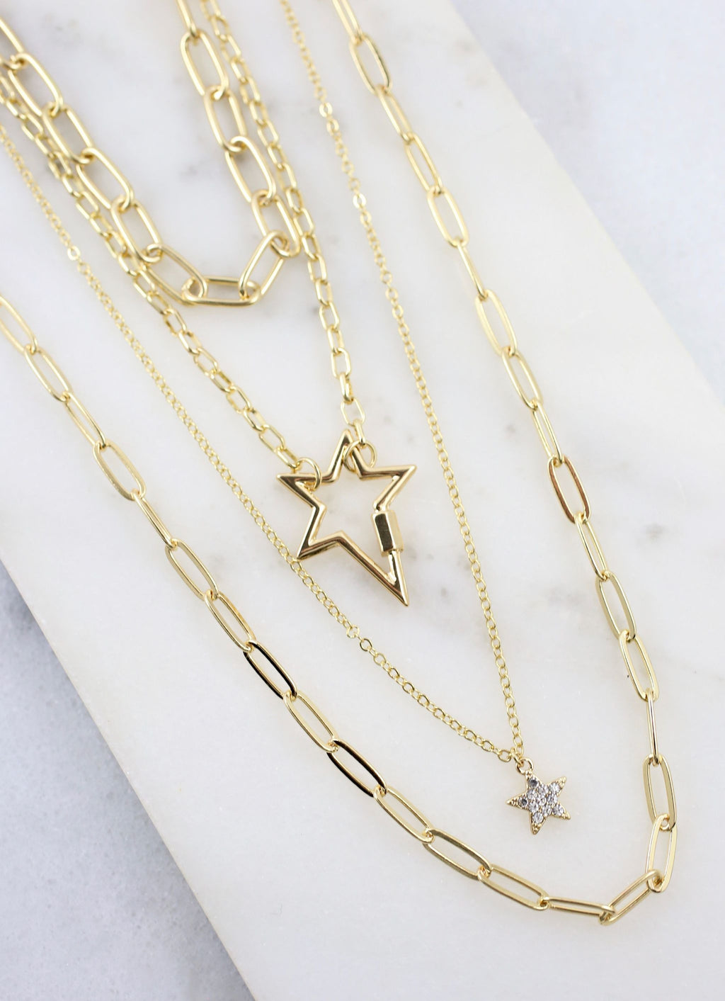 Lacie Layered Chain And Star Necklace Gold - Caroline Hill