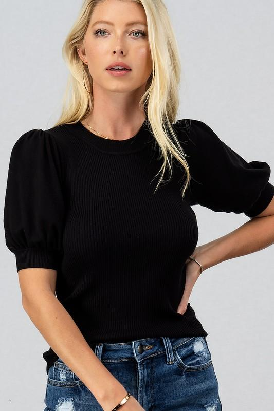 Ladies Who Brunch Black Puff Sleeve Top - Caroline Hill