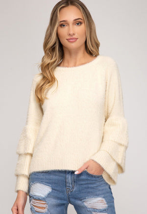 Ladies Who Brunch Cream Bell Sleeve Sweater - Caroline Hill