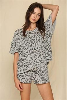 Ladylike Grey Leopard Knit Lounging Set - Caroline Hill