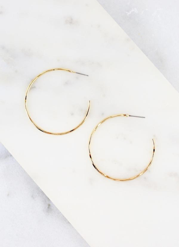 Lambert Thin Hammered Hoop Gold - Caroline Hill