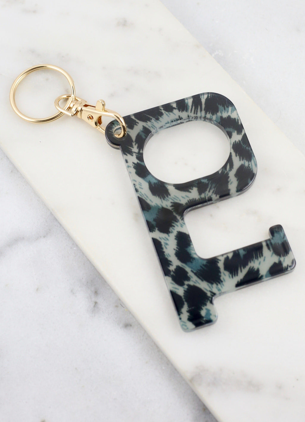 Lana Safety Hook Keychain Gray Leopard - Caroline Hill