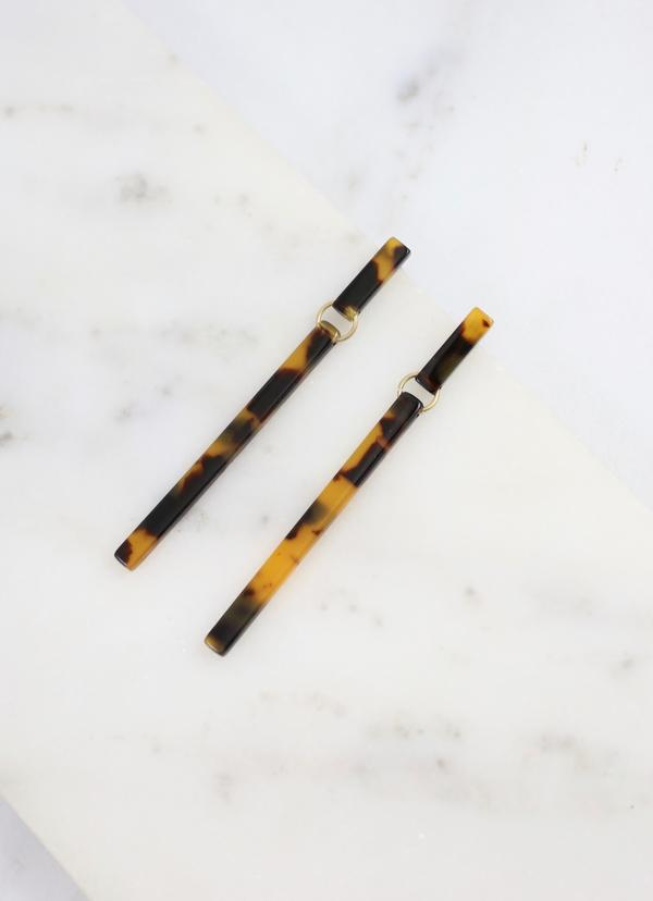 Landers Resin Bar Post Earring Brown - Caroline Hill