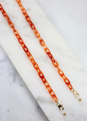 Landon Resin Link Mask Chain Orange - Caroline Hill