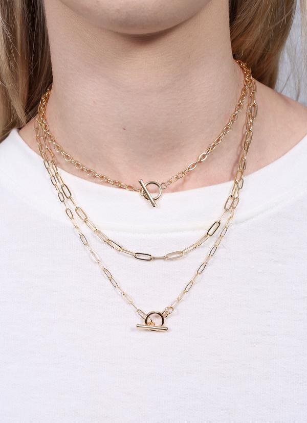 Laraine Triple Layered Toggle Necklace Gold - Caroline Hill