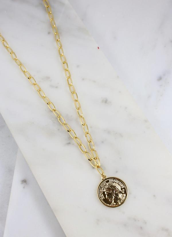 Laramie Link Necklace With Coin Charm Gold - Caroline Hill