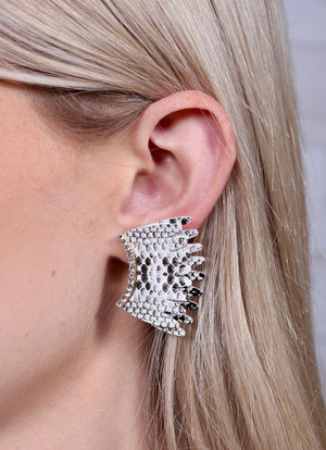 Lassie Animal Print And Cz Fan Earring Black-White - Caroline Hill