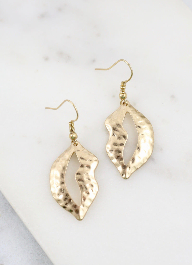 Lassy Worn Gold Metal Earring - Caroline Hill